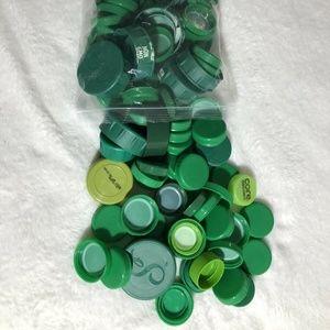 Lot of 100 plastic Caps lids craft supplies EUC